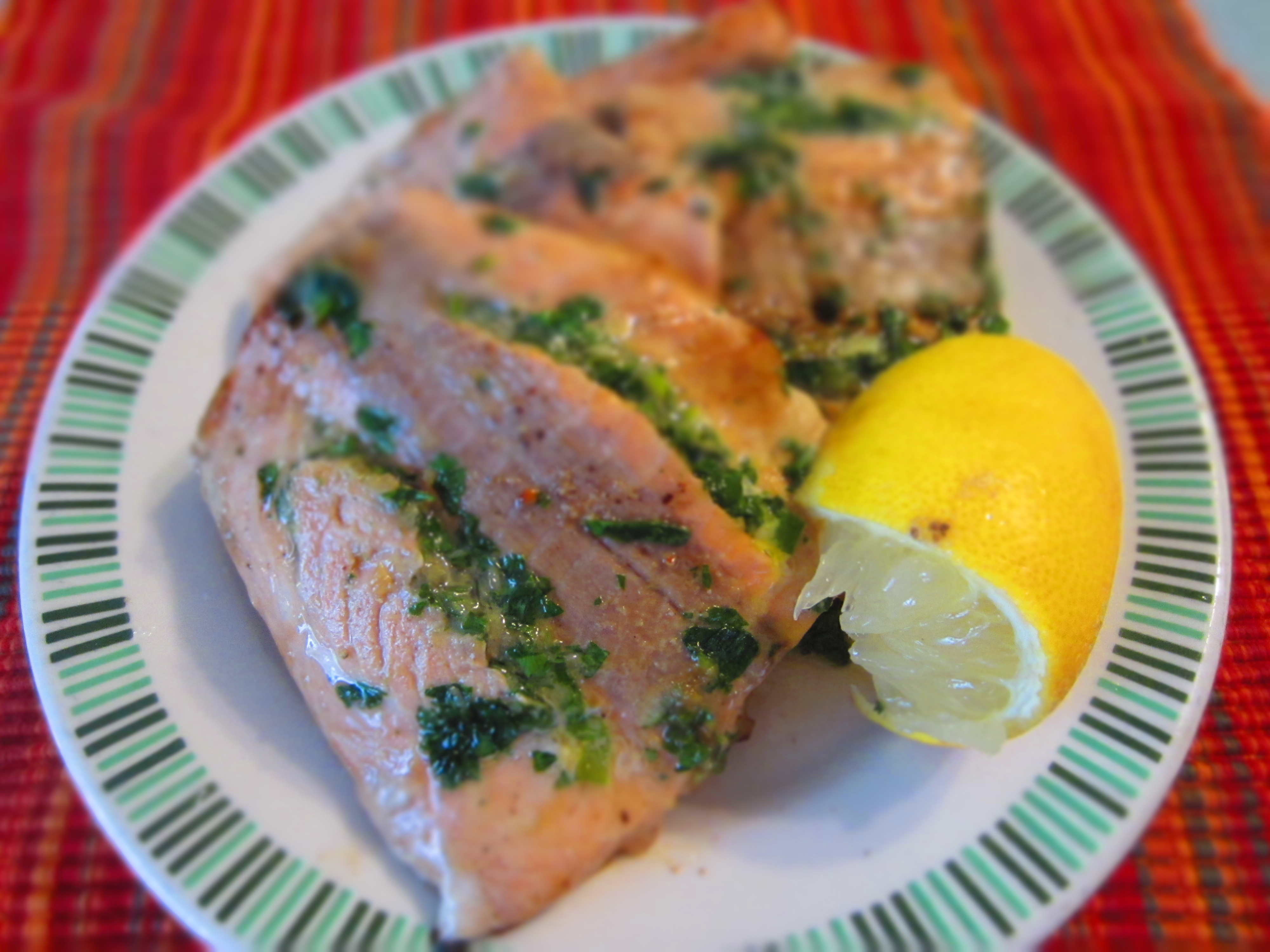 Herb stuffed Salmon with Soy and Honey Glaze